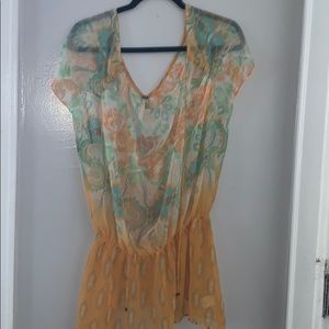 Free People Boho Floral Sheer Top - NWOT